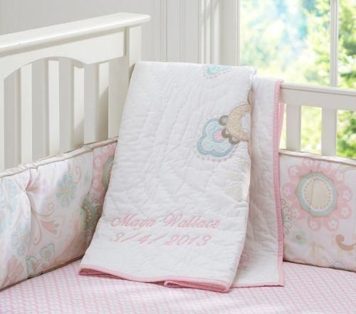 Girls Pottery Barn Maya Toddler Baby Crib quilt Pink/turquoise/tan ... : pottery barn toddler quilt - Adamdwight.com