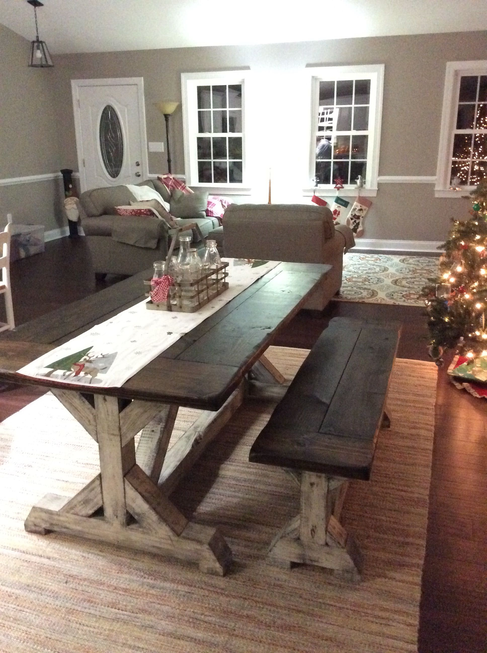 Trestle Farmhouse Table Bench Set Jacobean Top And Distressed White Base Www Flo Farmhouse Dining Room Farmhouse Style Dining Room Farmhouse Table With Bench