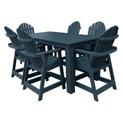Outdoor Highwood Hamilton Recycled Plastic 7 Piece Rectangle Counter Height Adirondack Patio Dining Set - AD-CNA37-NBE, Durable