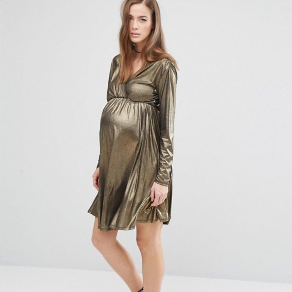 Nwt asos maternity gold long sleeve holiday dress products