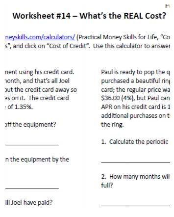 What Is The Real Cost Financial Literacy Worksheet Sample