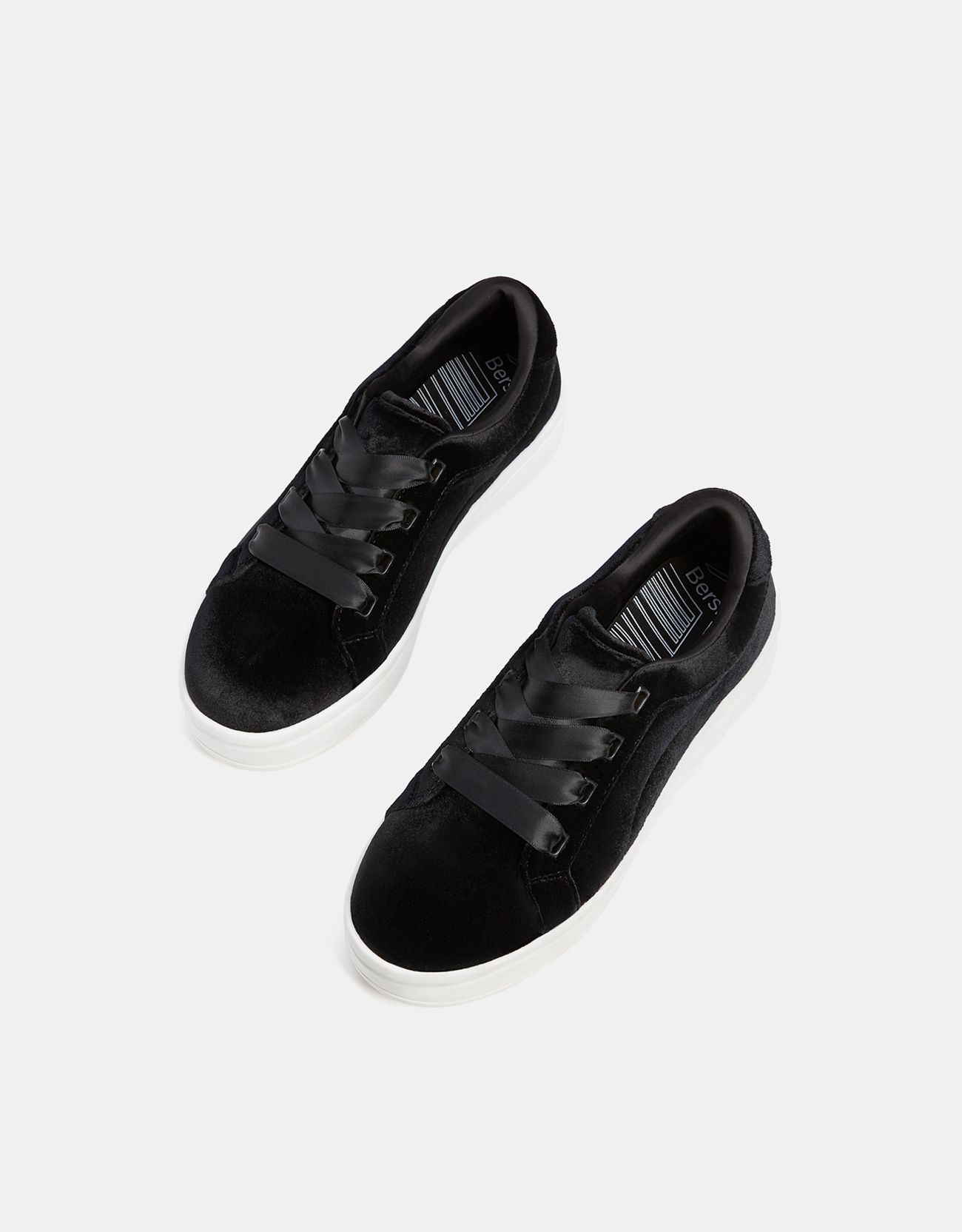 Velvet sneakers with satin laces