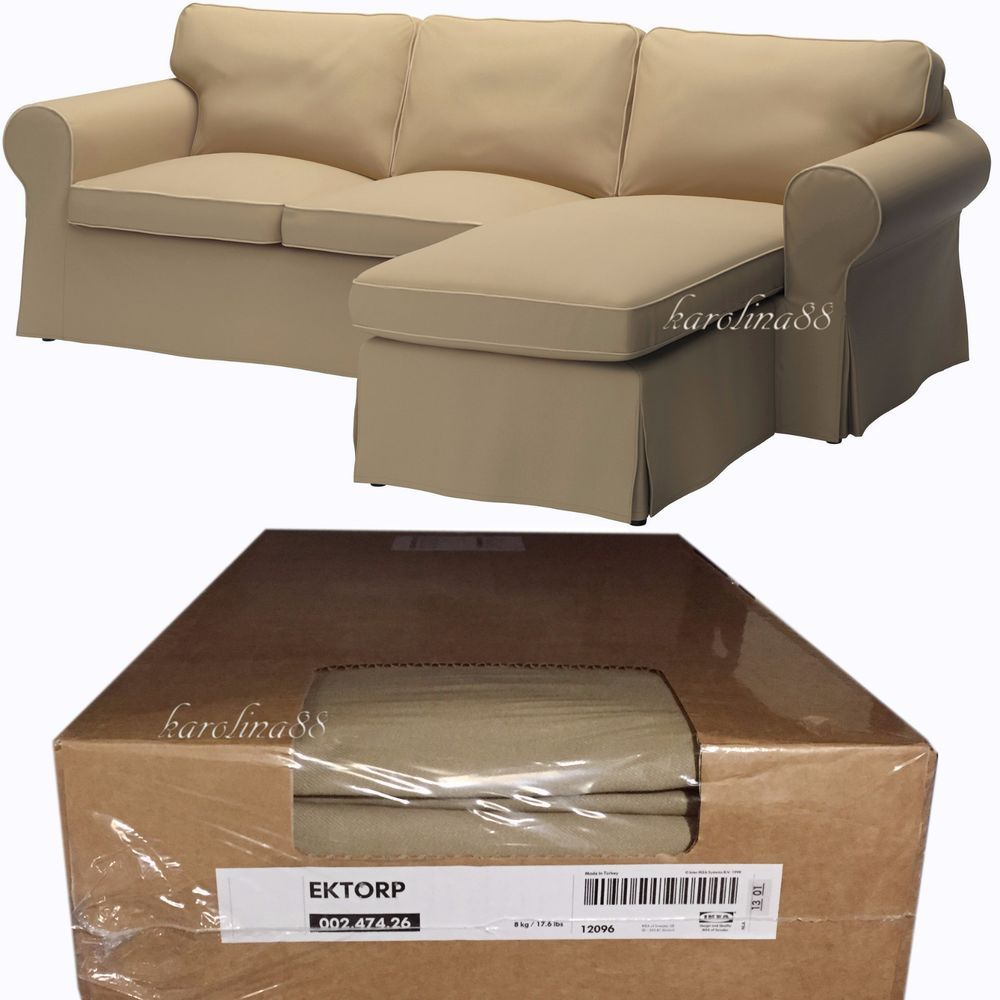 Ikea Cover For Ektorp Loveseat Sofa With Chaise Slipcover Idemo Beige  Piping New