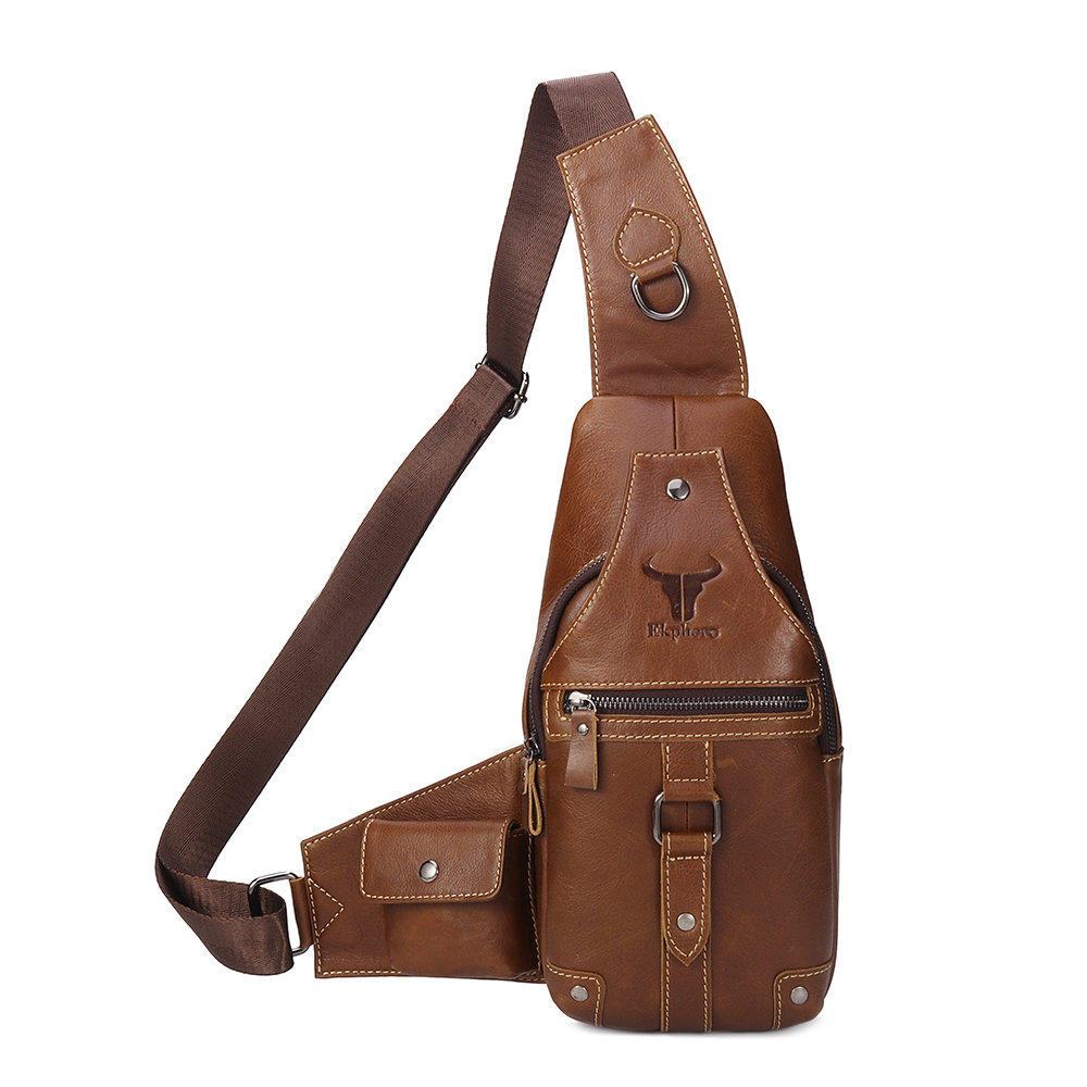 394d2732650 Genuine Leather Chest Bag Sling Bag Single-shoulder Crossbody Bag ...