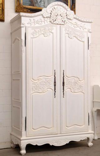 Armoire De Mariage Normande En Bois Massif Blanc Dressing Style Louis Xv Shabby Ebay