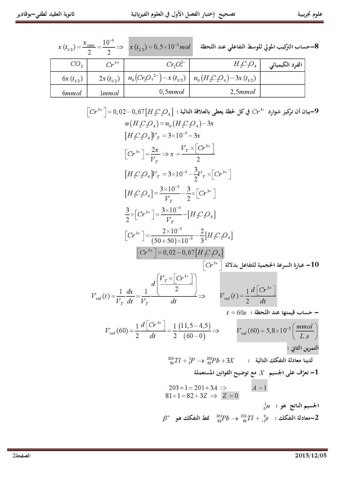 اختبار الفصل الاول في الفيزياء للسنة الثالثة ثانوي علوم تجريبية Physics Sheet Music Person