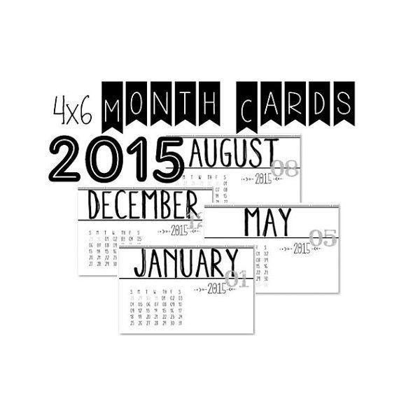 2015 Printable 4 x 6 Month Calendar Cards by DigitalDesignsByE