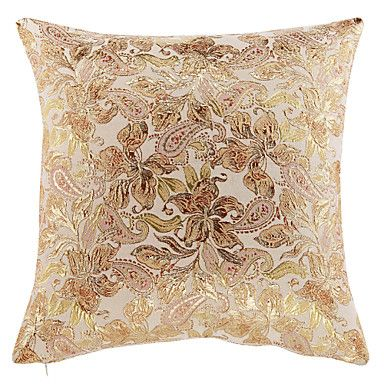 Traditional Luxury Flowers Polyester Decorative Pillow Cover