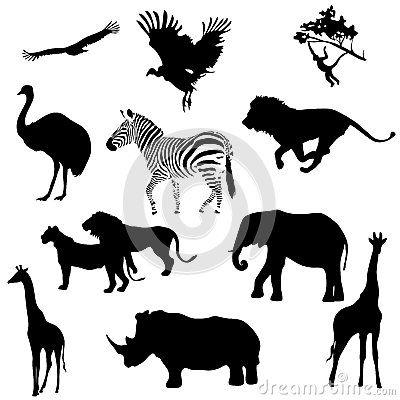 Savane silhouettes noires imprimer pinterest - Animaux savane africaine ...