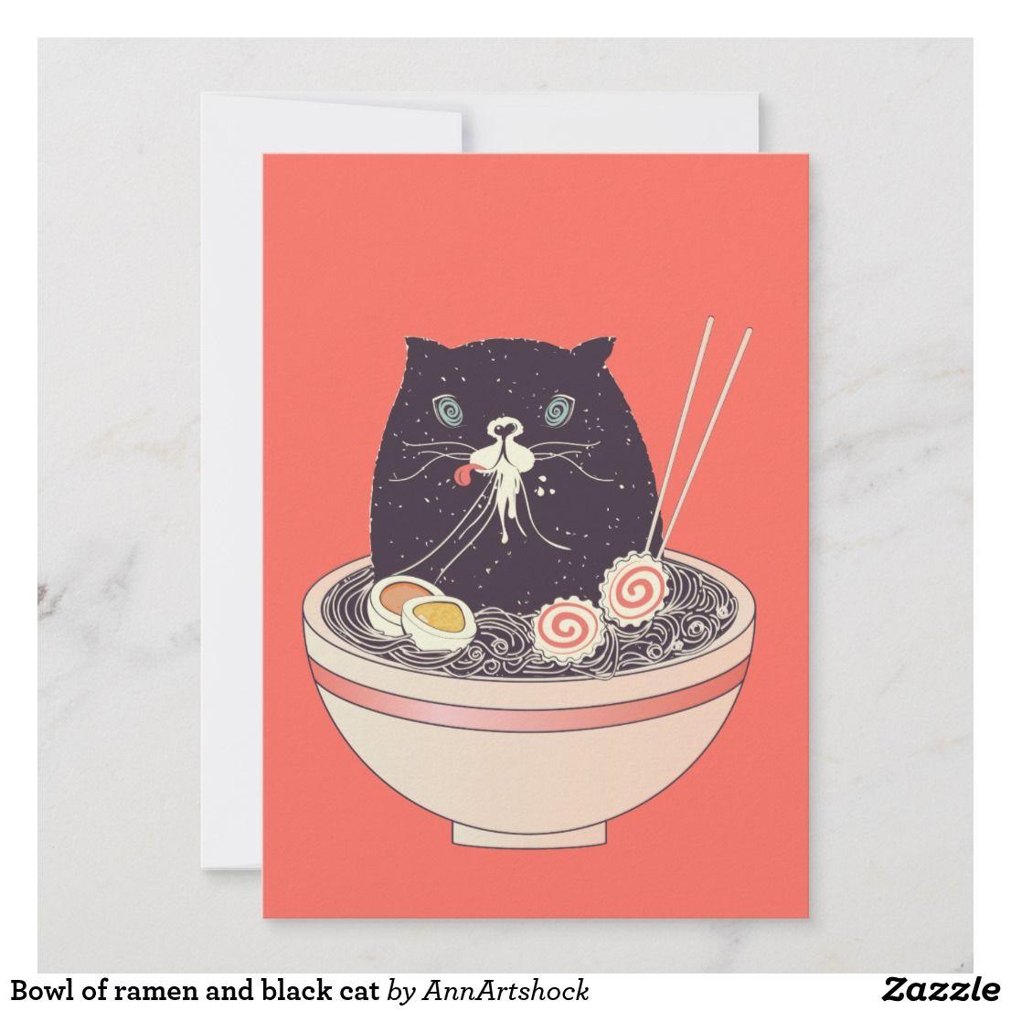Bowl Of Ramen And Black Cat Holiday Card Zazzle Com Cat Holidays Cat Greeting Cards Black Cat