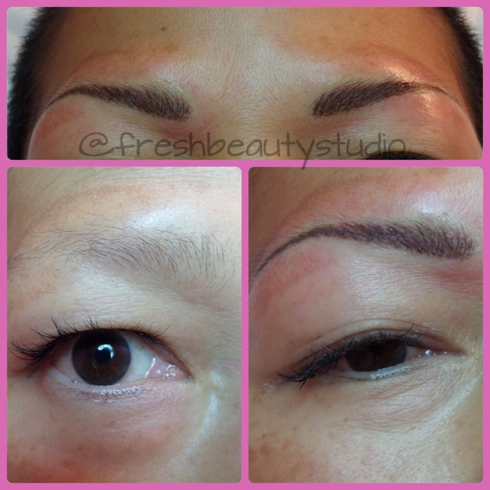 Before and after of 3d eyebrows with permanent makeup