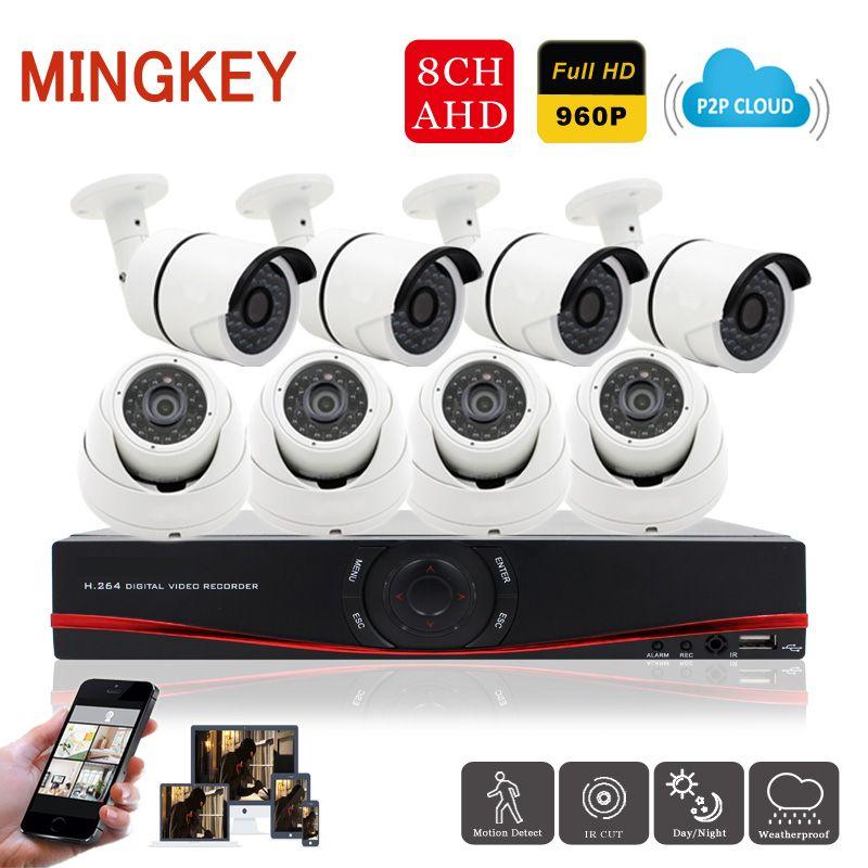Mingkey 8CH AHD CCTV Camera System AHD DVR Kit 1.3MP Outdoor IR ...