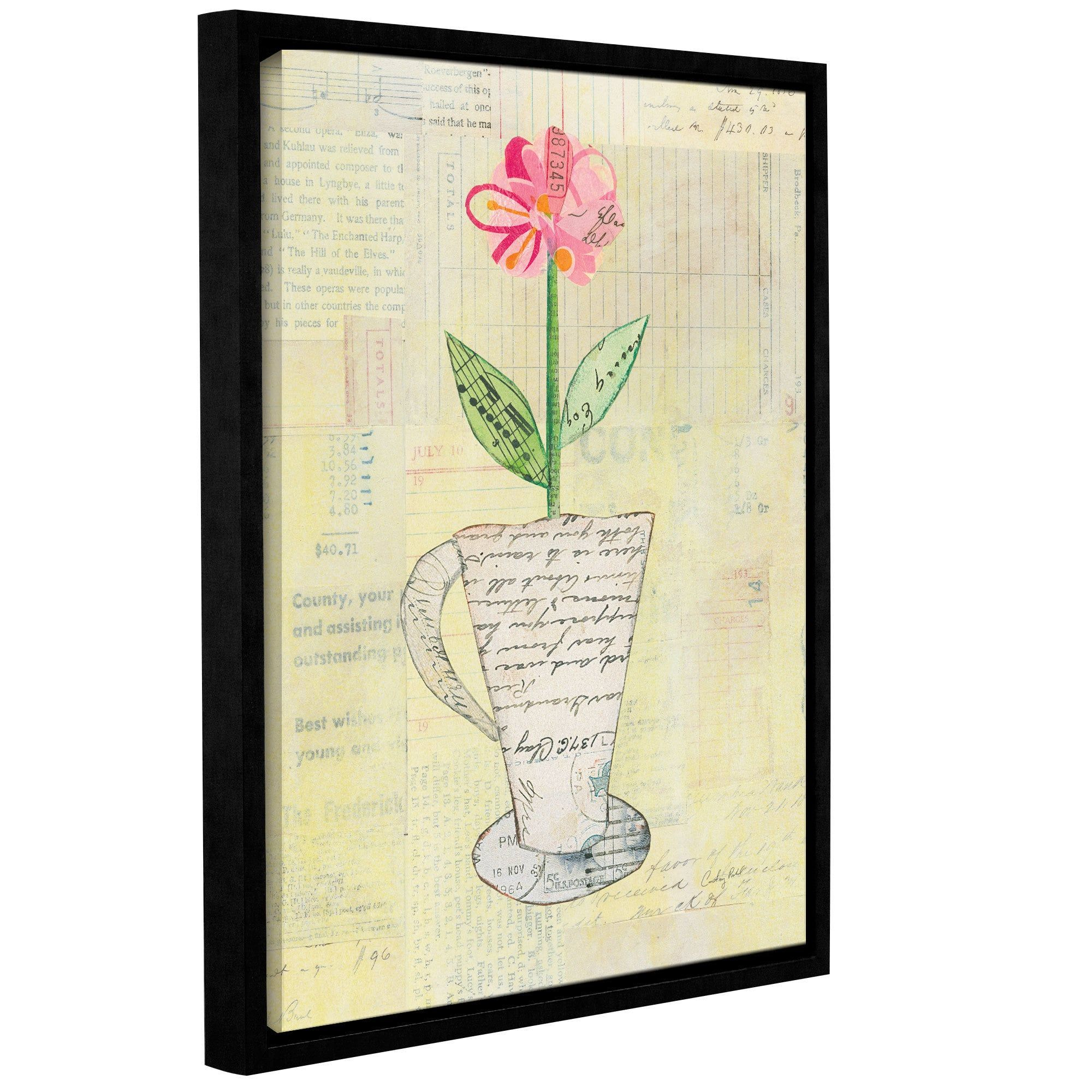 ArtWall Courtney Prahl's Teacup Floral II on Print, Gallery Wrapped Floater-framed Canvas
