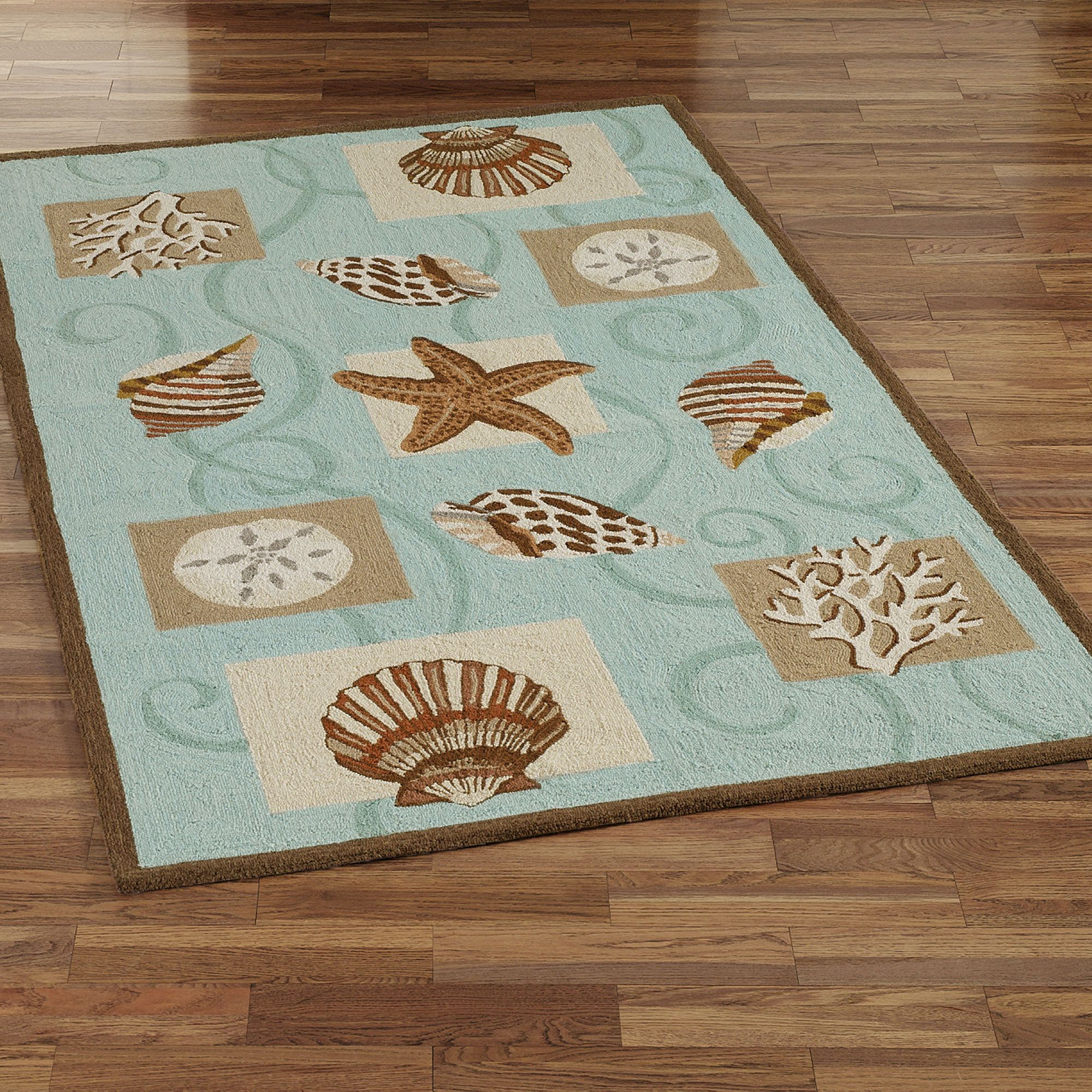 Sea Shell Hooked Wool Area Rugs Shell Aqua And Beach Themed - Turquoise bathroom mats for bathroom decorating ideas