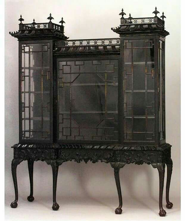 Gothic Black Castle-look Curio Display Cabinet
