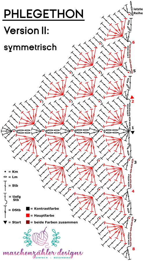 Photo of Häkelschrift für das Dreieckstuch Phlegethon – Version 2 – symmetrisches Tuch