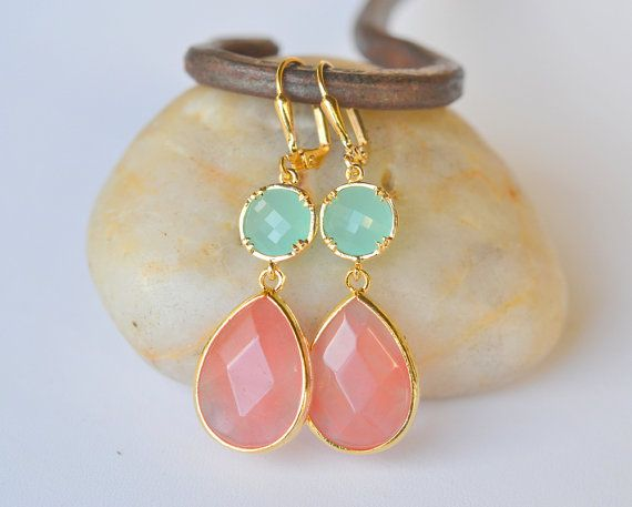 Rose Pink and Aqua Dangle Earrings in Gold  Dangle by RusticGem, $36.00