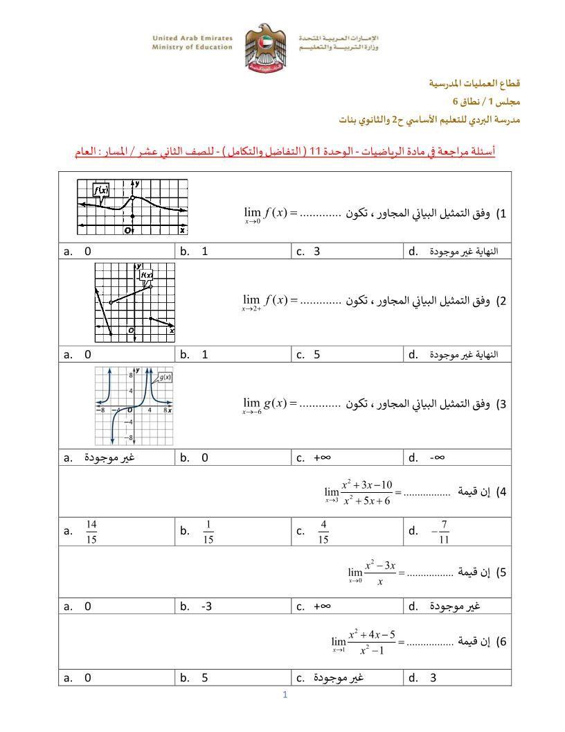 الرياضيات المتكاملة أوراق عمل التفاضل والتكامل للصف الحادي عشر عام Ministry Of Education Education The Unit