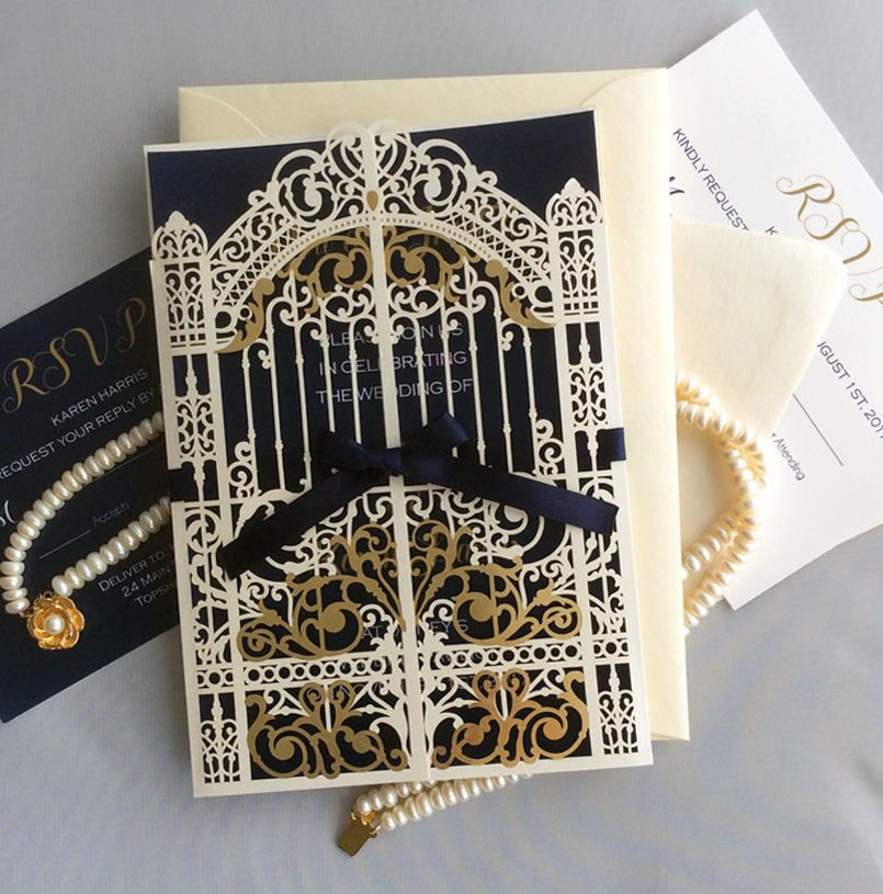 white and gold wedding invitations%0A Custom listing for Karen  elegant laser cut pearl white palace gate invitation  gold foiled gate folding w  navy ribbon Disney wedding by IvoryInvitations