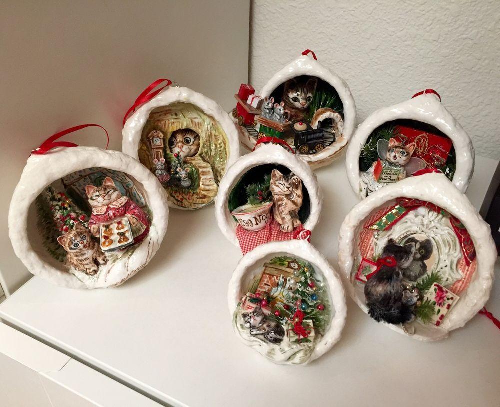 Vtg jan zimmer handmade paper mache christmas ornament for Paper mache christmas