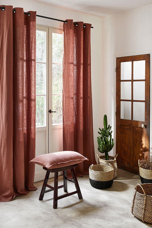 Un rideau en lin lavé marron, Madura  Idée déco rideaux, Rideaux