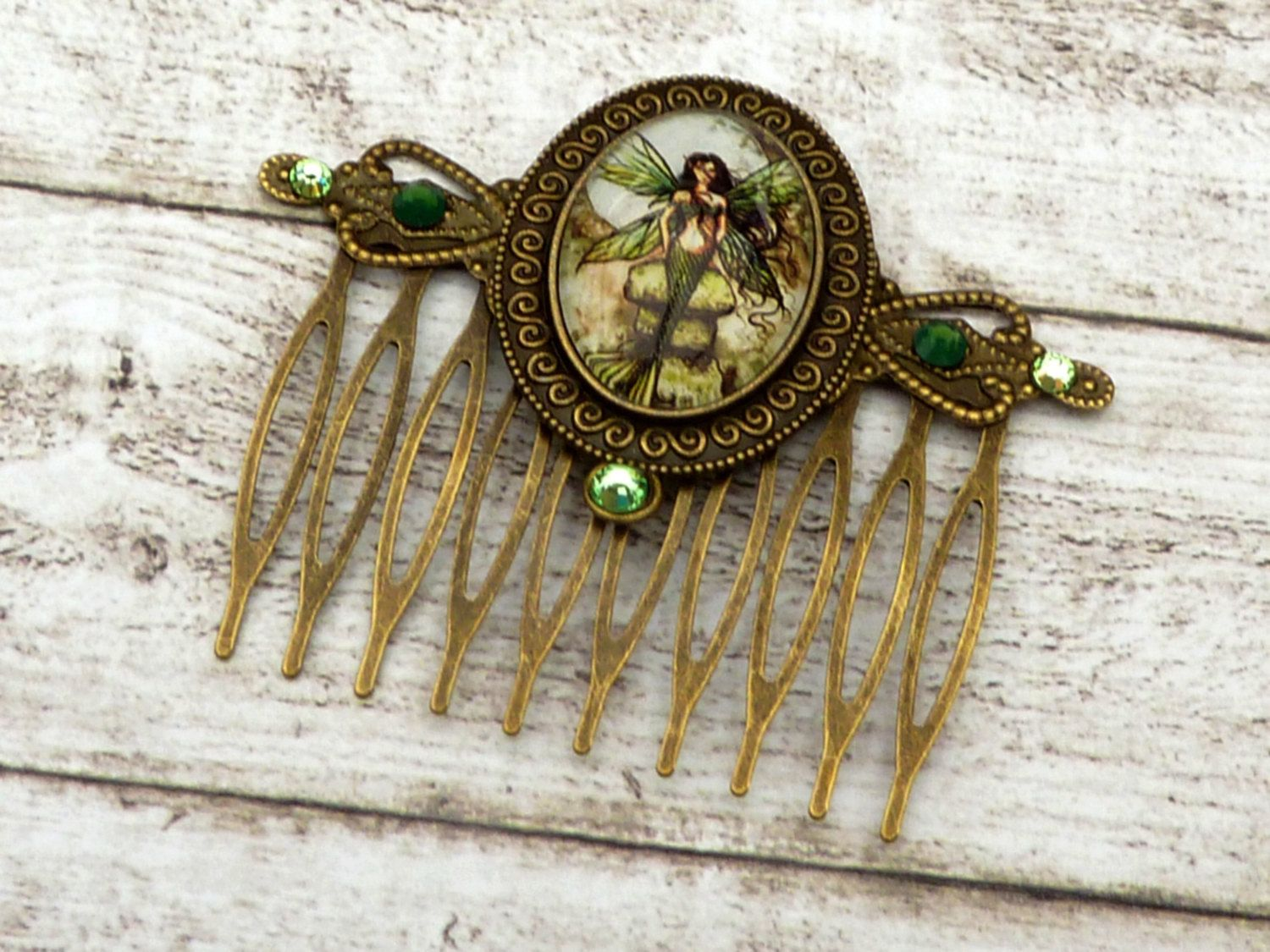 Mermaid hair comb, hair accessories tales, green bronze, little mermaid, girl hair comb, Fantasy, hair accessories for girls - pinned by pin4etsy.com