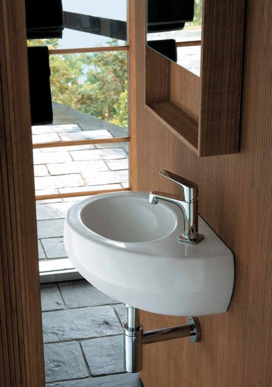 Wooden Bathroom Cabinets and Oval Sanitary Ceramics - Egg by Pozzi ...
