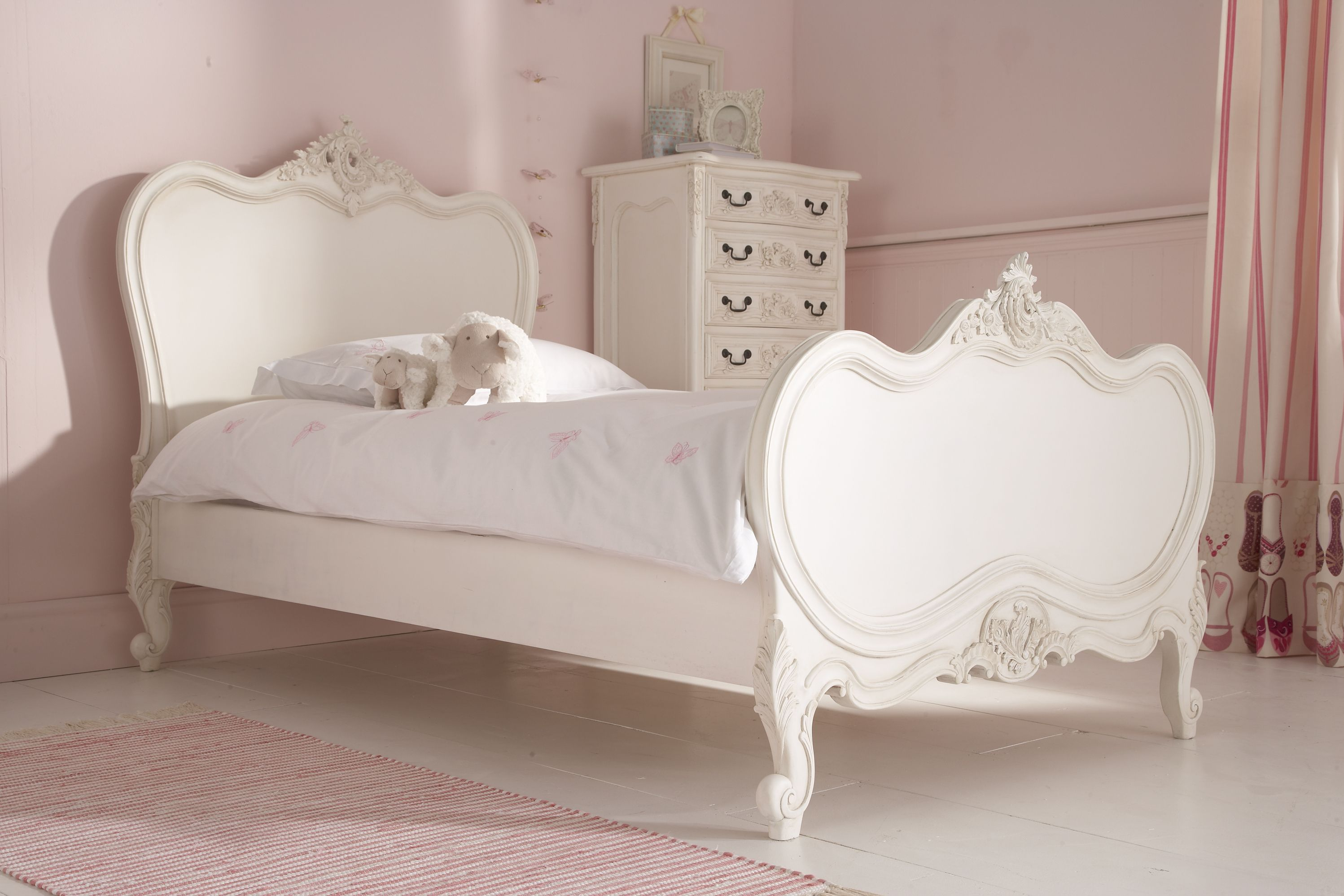 Lola Distressed White Princess Bed Single Bed