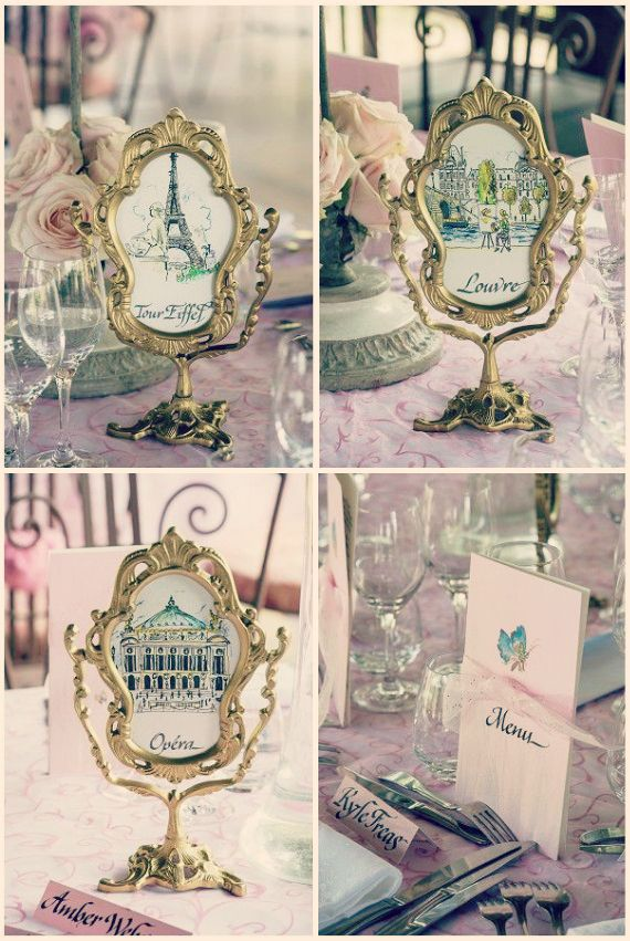 French Themed Wedding Table Decor
