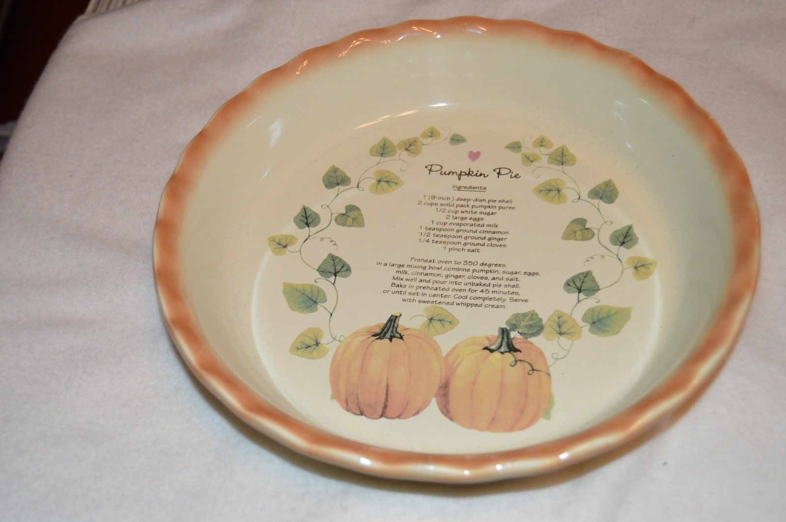Ceramic Pumpkin Pie Dish Plate with Recipe 10\  Collectible Nantucket Decorative | eBay & Ceramic Pumpkin Pie Dish/Plate With Recipe 10"|1600|1063|?|b2b62cfb1eb0db106ece52a7fd0af381|False|UNLIKELY|0.3619650602340698