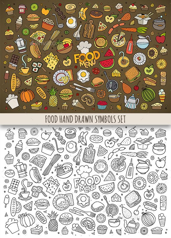 Hand Drawn Food Doodles Symbols | How to draw hands, Food ...