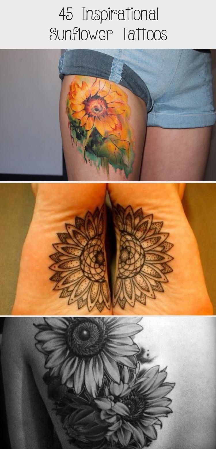 Photo of sunflower tattoo – 45 Inspirational Sunflower Tattoos #sunflowertattoosColor #su…