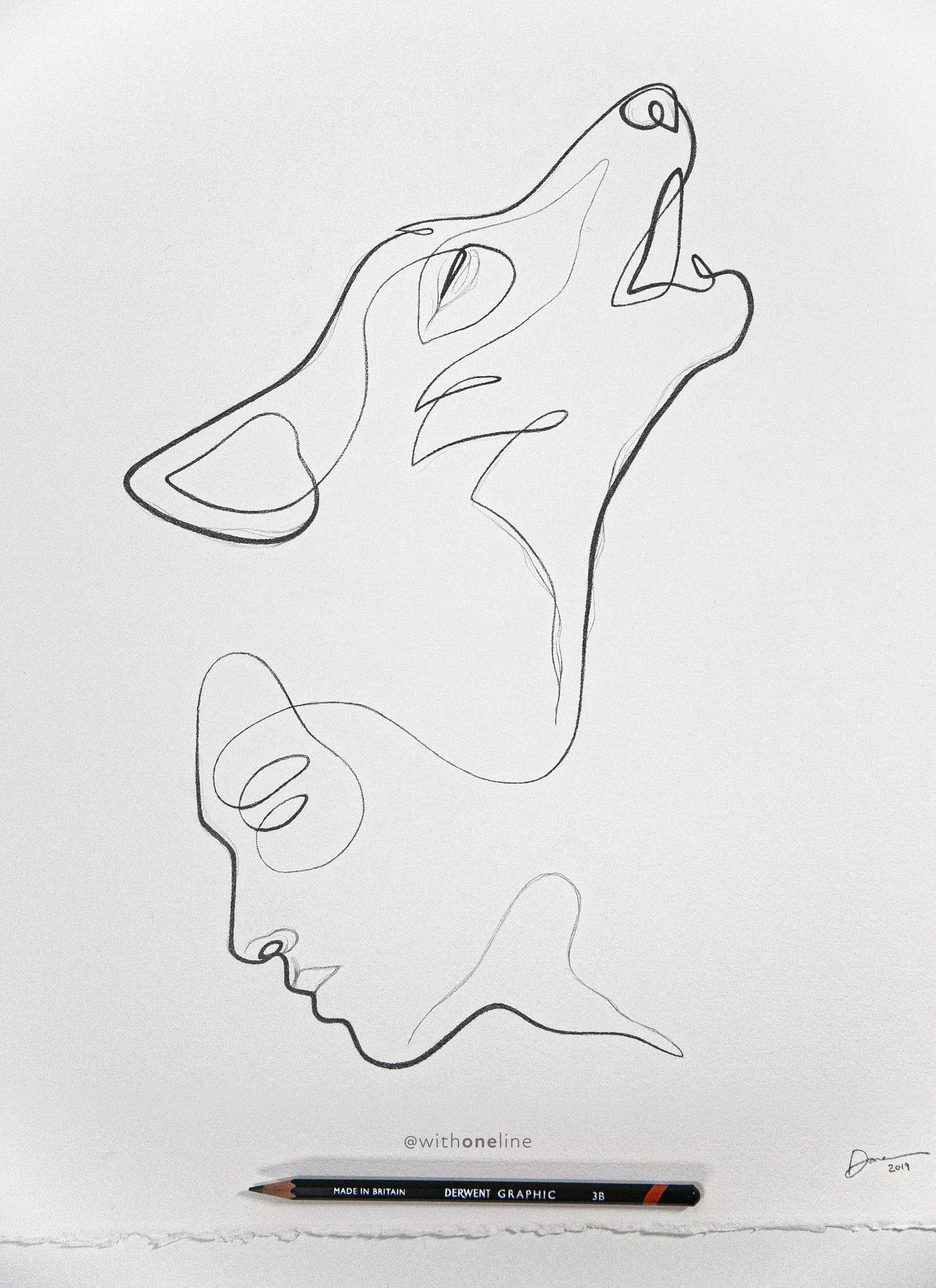 Photo of Minimalist Strichzeichnung des Lone Wolf