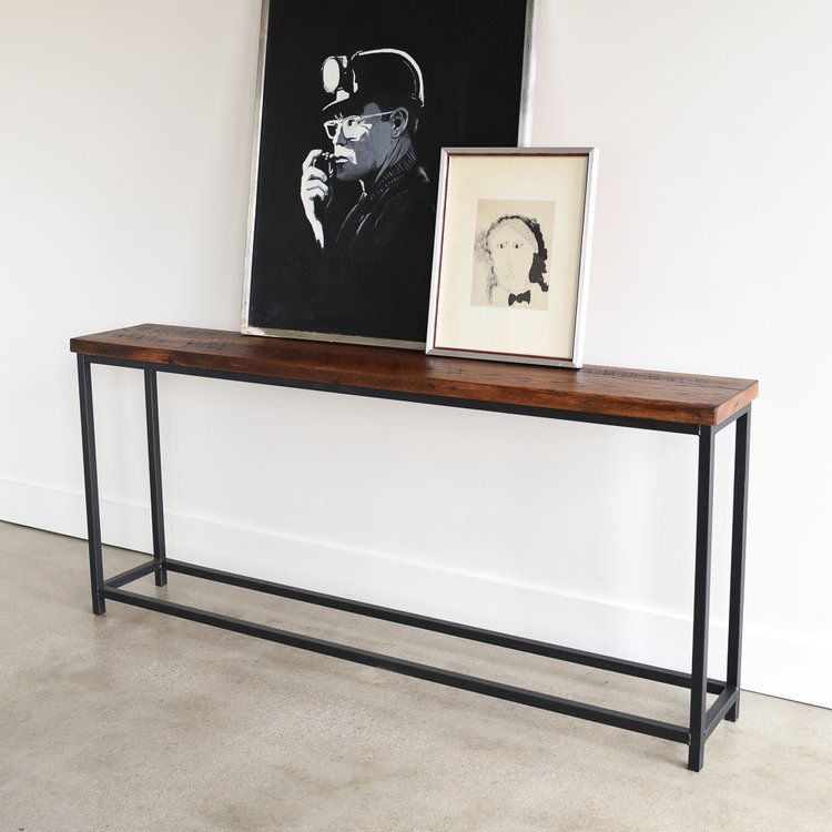 Stoic Reclaimed Wood Console Table Steel Box Frame What We Make Box Console Frame In 2020 Reclaimed Wood Console Table Wood Console Table Industrial Sofa Table