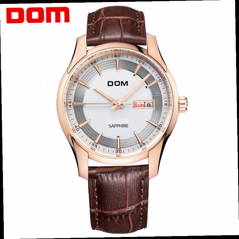51.84$  Watch now - http://ali0mv.worldwells.pw/go.php?t=32781024570 - DOM Men Watches Top Brand Luxury Waterproof Quartz Wristwatches Business Leather Watch Men Reloj Hombre Marca De Lujo Male Clock