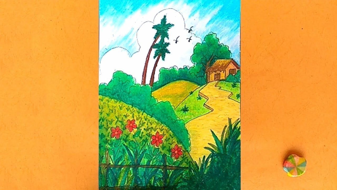How To Draw Summer Landscape Scenery Nature Drawing For Kids Drawing Scenery Landscape Coloring A Drawing Scenery Nature Drawing Nature Drawing For Kids