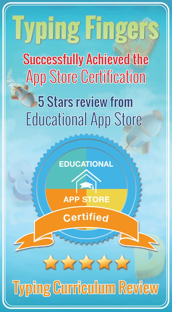 Extremely happy to announce that Typing Fingers has successfully achieved Apple (ITunes) educational certification with 5 stars from educationalappstore.com. Educational App Store has got excellent reviews from teachers for our typing app store. Typing fingers app has also achieved its place in the curriculum review for kids and children to give them an edge in speed and clarity of communication.