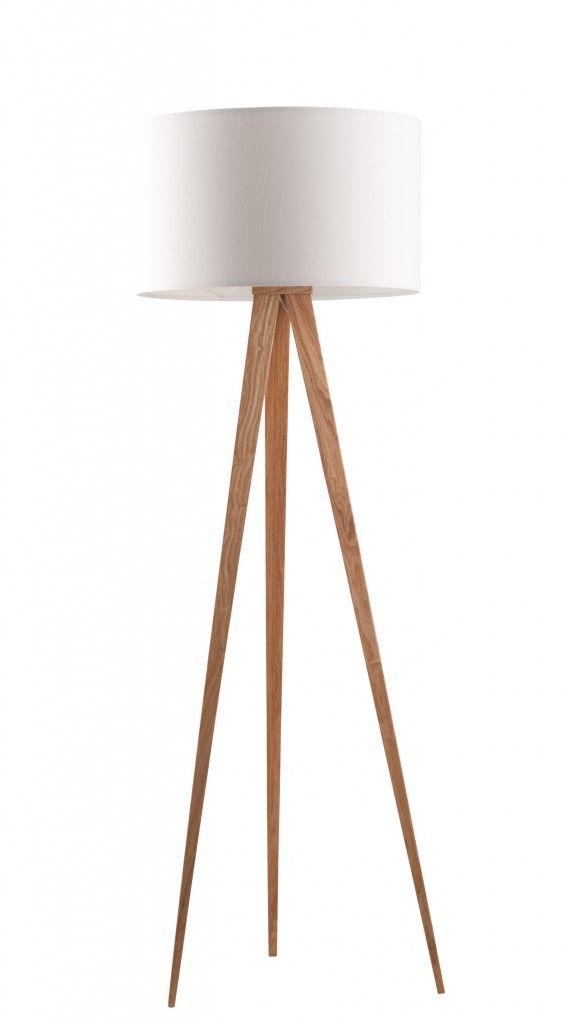 Stehleuchte TRIPOD WOOD WHITE Von ZUIVER Schirm Weiß Füße Natur |  Interiors, Floor Lamp And Wooden Lamp