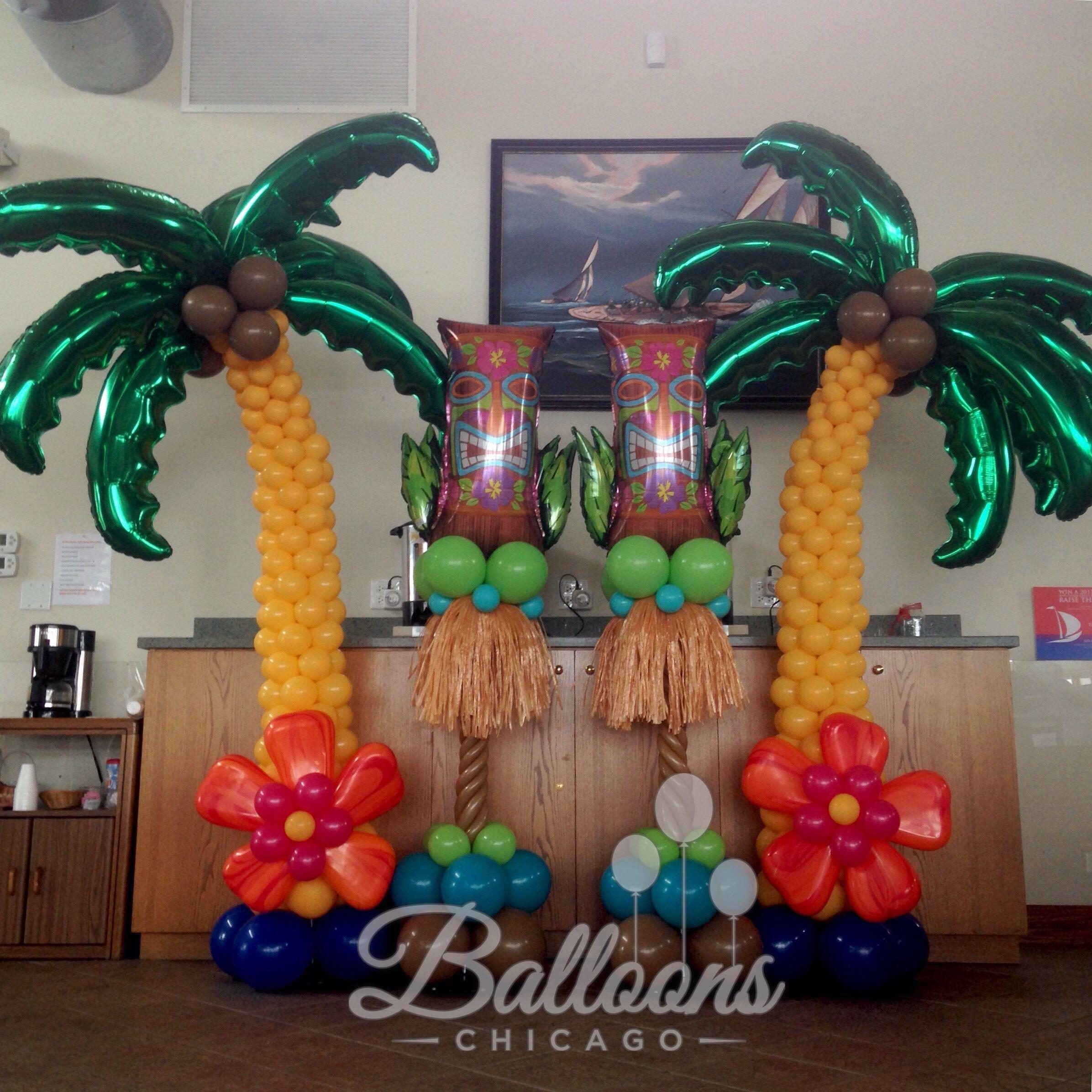 Luau Party He Cute Are These Tiki Guys So Fun Balloon Columns