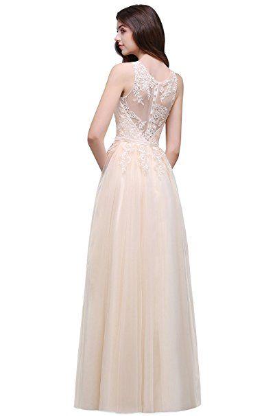 Damen Elegant Spitze Tüll Brautjungfernkleid Hochzeit Abendkleid ...