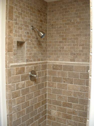 Like The Subway Travertine Tile Travertine Shower Shower Tile
