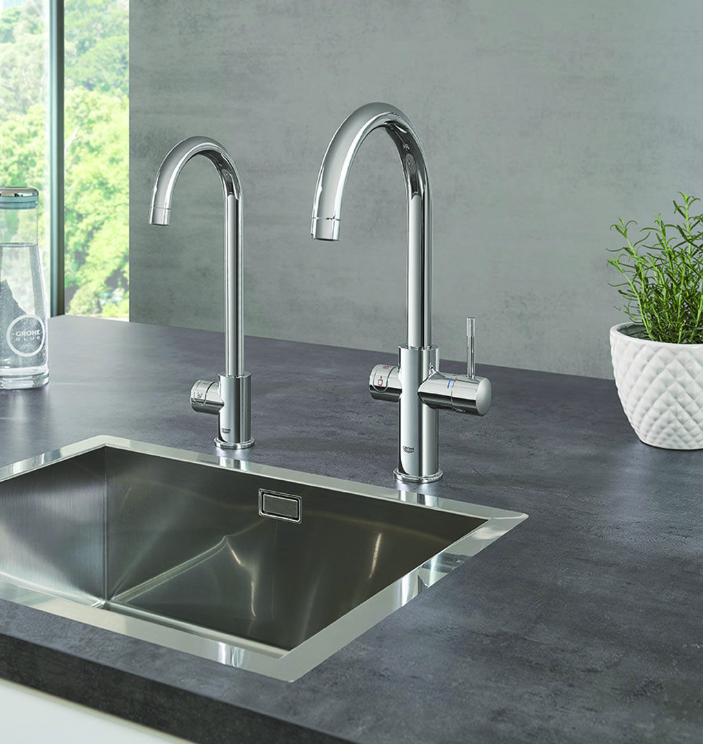 Create A Kitchen That S Cool Calm And Functional: #GROHE Red And GROHE Blue Do Not Only Make A Stylish
