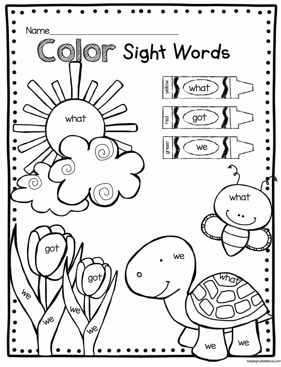 Color Words Coloring Sheet Elegant Coloring Pages Outstanding Kindergarten Sight Word In 2020 Sight Words Kindergarten Kindergarten Freebies Sight Word Coloring