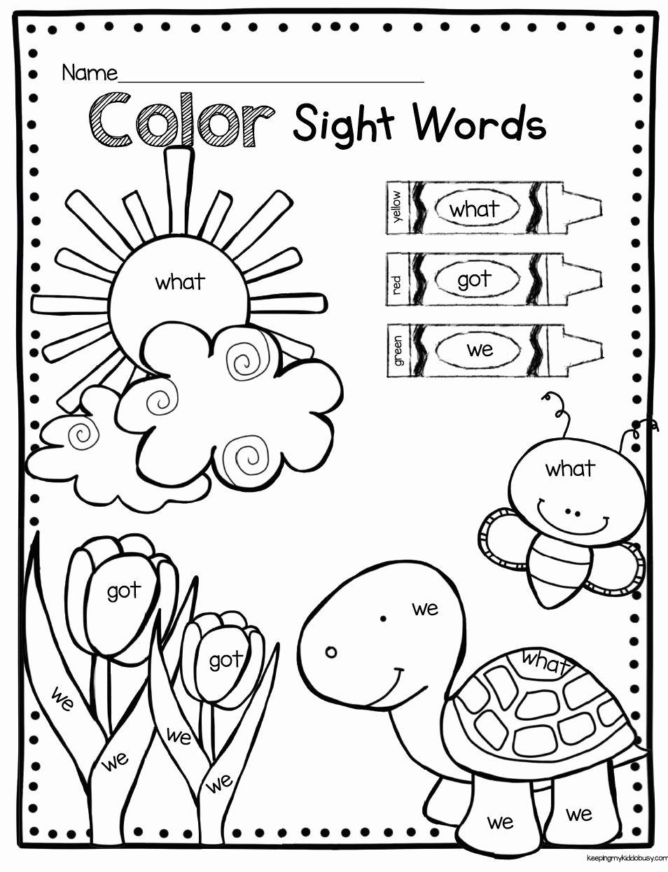 Color Words Coloring Sheet Sight words kindergarten