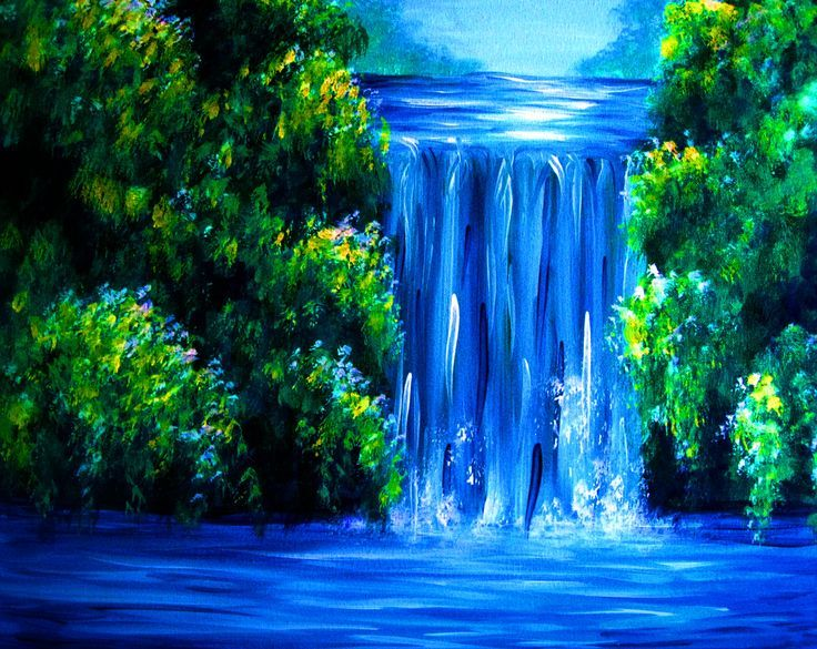 17 Best Ideas About Waterfall Paintings On Pinterest Waterfall Waterfall Paintings Night Painting Landscape Paintings
