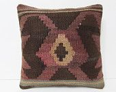 16x16 nomad kilim pillow knitted throw pillow kilim decorative pillow tapestry throw pillow antique fabric wool pillow case brown red 24452