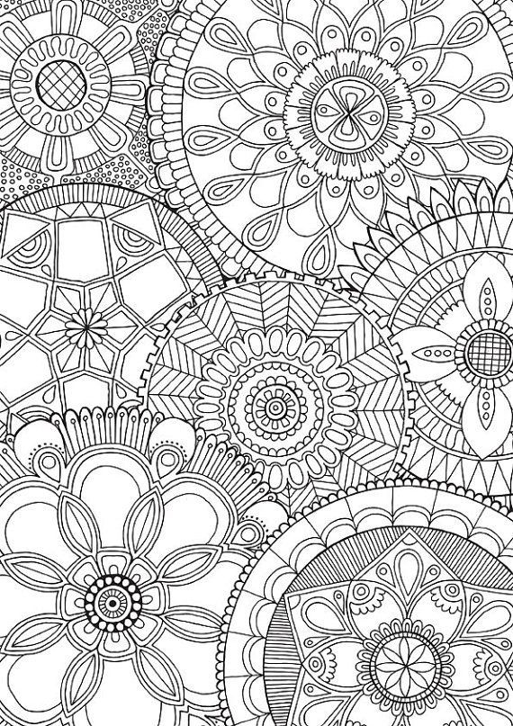 Flower Mandalas Coloring For Grown Ups Free Printable Colouring Page Family Colour With Me HELLO ANGEL By HelloAngelCreative