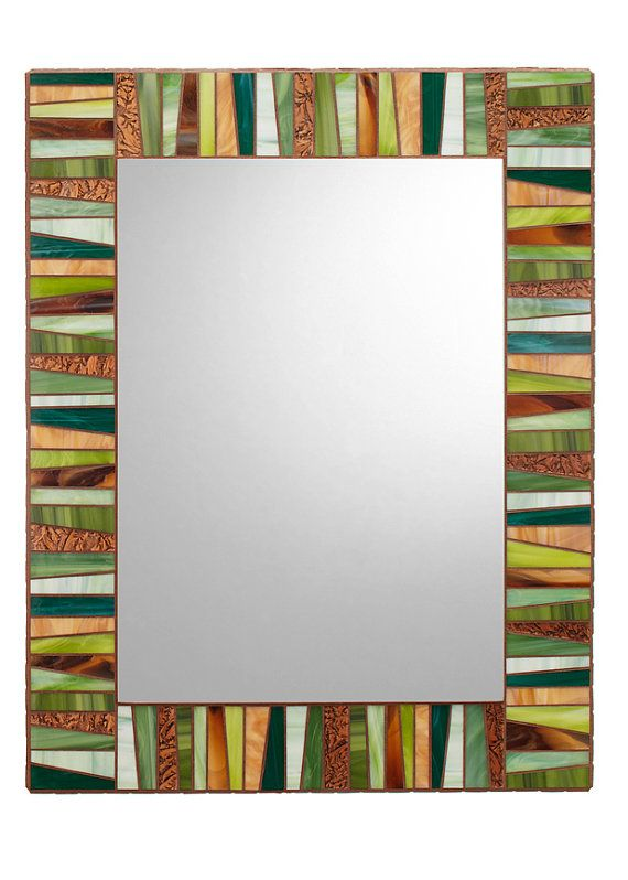 Green & Brown Stained Glass Mosaic Mirror