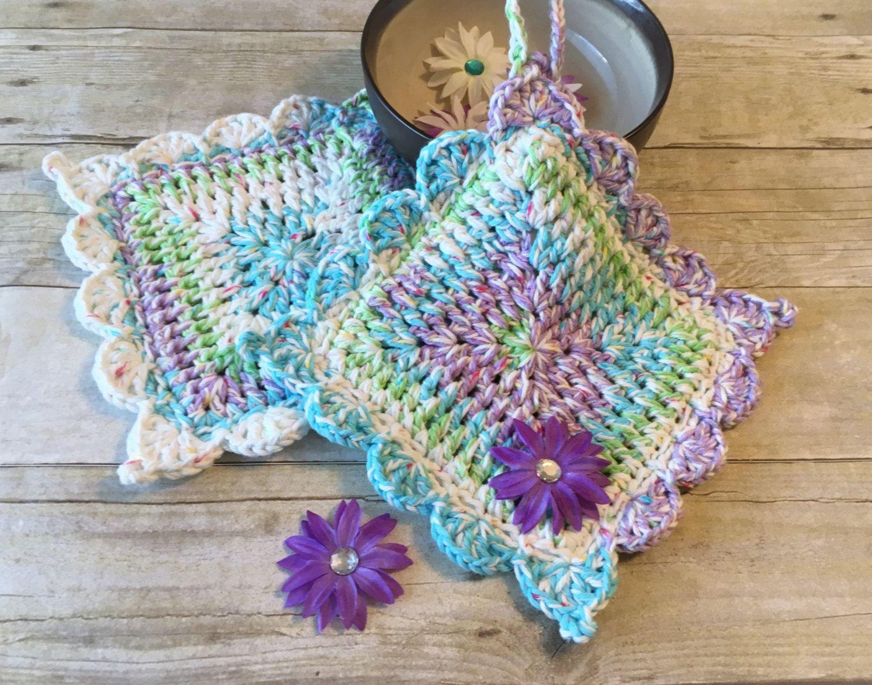 Set of 2 Kitchen Pot Holder Ready to Ship Gift Set BluePurple Pot Holder Crochet Pot Holders Handmade Pot Holders Pot Holder Hot Pad