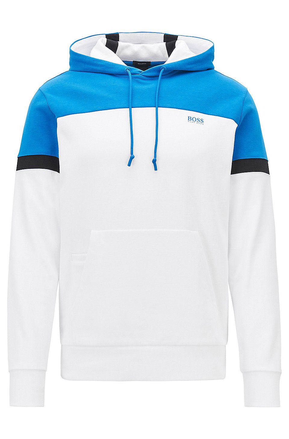 55c35bfce HUGO BOSS Colour-block hoodie in a double-faced cotton blend - White  Tracksuits from BOSS for Men in the official HUGO BOSS Online Store free  shipping